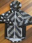 Brooklyn Cloth Mfg Co Patriotic Mens Windbreaker Zipper Pockets Hooded Size Med