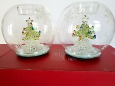 Lenox Christmas Tree LED Glass Candle Holders Set of 2 864129 NEW IN BOX!