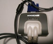 Iogear VGA Splitter 2 port USB dual monitor cable PC adapter audio 3 male 15 pin