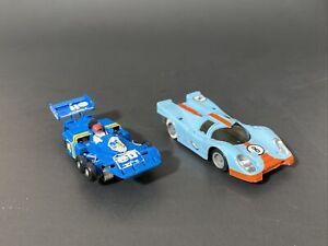 Aurora AFX G-Plus Elf F1  & TYCO PRO Porche Gulf 8 Lot Of 2 Slot Cars FOR PARTS!