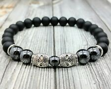"8""L MEXICAN SUGAR SKULLS 8mm Black Onyx+Hematite Gemstone Beaded Men's Bracelet"