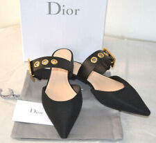 Christian D-Dior Technical Fabri Flat Ballerin Gold Buckled  Mule Shoes Size 38