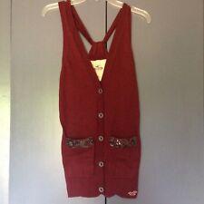 HOLLISTER Women's Sweater Racerback Cardigan Vest Maroon Sequin XS