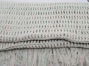"""Vtg Afghan Crochet Macrame Peppermint Pastel Fringed Blanket Handmade Throw 58"""""""