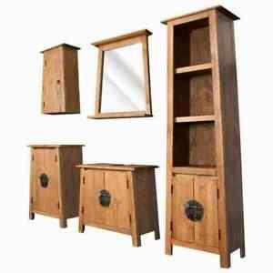 US Solid Recycled Pinewood Bathroom Vanity Cabinet Mirror Home Furniture