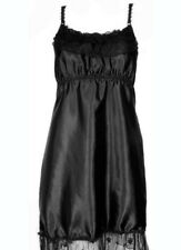 New Black Satin & Lace Babydoll Slip Sexy Nightwear Camisole Nighty Sleepwear
