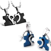 His and Hers Stainless Steel Love Heart Puzzle Men Women Couple Pendant Necklace