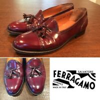 FERRAGAMO US Size 7 Oxblood Leather Tassel Cap-Toe Loafers Slip-On Dress Shoes