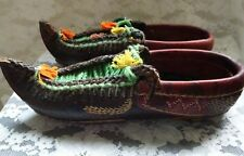 Old tribal exotic leather hand made hand embroidery shoe