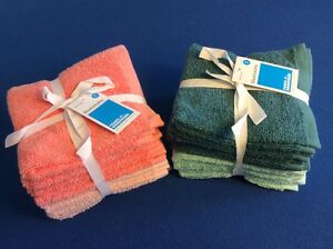 """washcloths, soft, absorbent, 100% cotton, 12""""x12"""", in turquoise or peach 8-pk"""