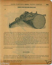 1920 PAPER AD Perfection Portable Drag Saw Timber Lumber Mill Saws 6 Foot Blade