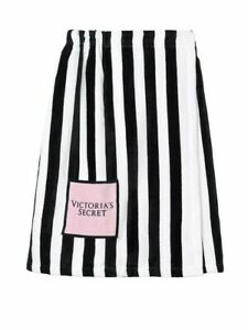 "Victoria's Secret Wrap Towel Black & White Stripe Size 32"" L X 27"" W New"