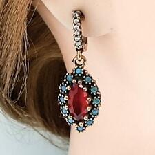 Deco 4.00ctw Ruby, Topaz & Diamond Cut Sapphire 14K Yellow Gold Silver Earrings