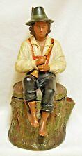 Antique BERNARD BLOCH Terracotta Tobacco Humidor Jar Seated Man w/ Horn Figural