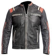 Mens Cafe Racer Biker Vintage Motorradfahrer Casual Baumwolle Lederjacke Khaki