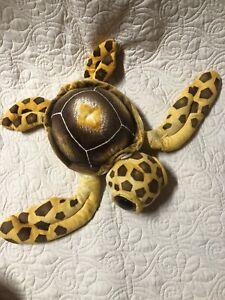 Fiesta Big Eyed Turtle Plush Yellow Brown Spotted Stuffed Sea Ocean Animal EUC
