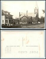 WISCONSIN RPPC Photo Postcard - Colby, Street Scene Homes, Church & People G37