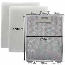 UNIVERSAL Cooker Hood Vent Metal Mesh + Extractor Fan Foam Filter 320 x 260 mm
