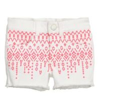 H M Girls White Embroidered Shorts w/ Tribal Aztec Print Size 8-9