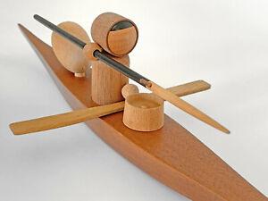 Arne Tjomsland Kayak **WITH PADDLE** Extremelly RARE Norway teak figurine Danish