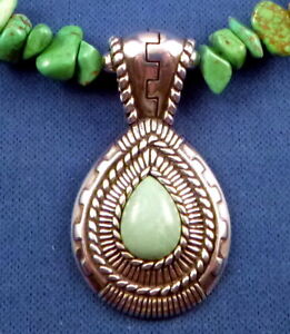 """Carolyn Pollack Turquoise Sterling Teardrop PENDANT Relios 22.5"""" nugget necklace"""