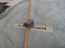 Premier Designs AMY rhodium purple glass ring sz 7 RV $48 FREE 1st ship