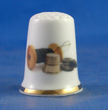 Birchcroft China Thimble -- Silver Thimble & Cotton -  Free  Gift Box