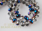 72pcs 6x4mm Faceted Rondelle Spacer Loose Crystal Glass Beads Clear Half Blue