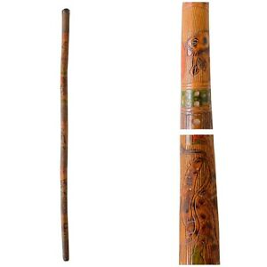 Early American Folk Art Cane / Walking Stick - Hand Carved & Painted - Eagle