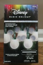 LED MICKEY MOUSE WHITE LIGHT STRING Shimmering Disney Magic Holiday 0785220 NEW