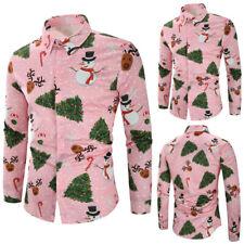 Men Christmas Casual Snowflakes Santa Candy Printed T Shirt Tops Party Blouse UK
