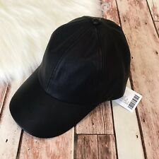 Urban Outfitters Baseball Hat Faux Leather Black Adjustable NWT