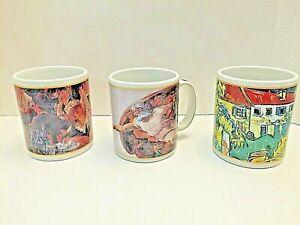 Vintage Cafe Arts Mugs Van Gogh, Renoir, Michaelangelo