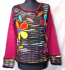 FAIR TRADE GRINGO ETHNIC HIPPY FESTIVAL FLOWER POWER DESIGN LONG SLEEVE TOP XL
