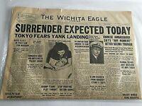 1945 Newspaper Surrender Expected Today Japan  World War II