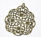 New 30 Bronze Tone Filigree Flower Wraps Connectors 58x48mm