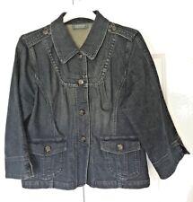 Motto MEDIUM Stretch Denim Jacket 3/4 Sleeve Yoke Detail DARK WASH Loose Style