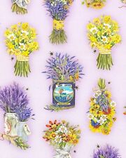Lavender Bouquets Everyday Favorites Robert Kaufman DIGITAL  Fabric 1/2 Yard