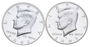 2002-S & 2005-S Gem Deep Cameo Proof Kennedy Half Dollar 90% Silver *671