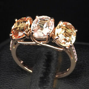 Morganite Peach 3 Stone 7.30Ct.Sapp 925 Sterling Silver Rose Gold Ring Size 6.75