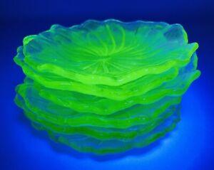 Lot Of 6 Antique Vtg Vaseline Uranium Glass Leaf Vanity Bowl Plate UV Glow