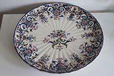 """Massive french platter faience de Desvres around 1900 bouquet de fleur vase 14"""""""
