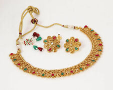 Indian Women Wedding Bollywood Red & Green Long Necklace Earring New Jewelry Set