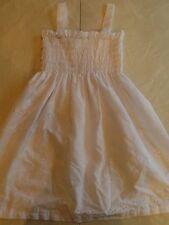 girls WHITE DRESS summer sun SMOCKING plain solid FANCY sleeveless SIZE 4/5