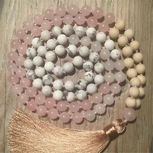 Natural Rose Quartz 108 Beads Handmade Tassel Necklace Blessing Wristband Chakra