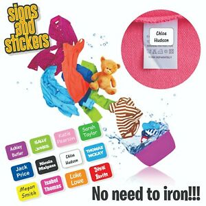 Stick On Name Labels for Clothes Clothing Stickers - NONE IRON - easy to apply 2
