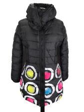 Desigual Women's Winter Parka Jacket Sz 40 MEDIUM Minky Interior Full Zip Black