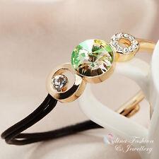 18K Gold GP Made With Swarovski Crystal Luminous Green Half Leather Chain Bangle