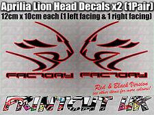 Aprilia Factory Lion Head DECAL STICKERS RS50 RS125 RSV4 Tuono Dorsoduro RED