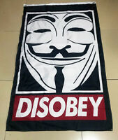DISOBEY Anonymous Flags & Banner 3x5ft Sign Logo Garage Wall Vertical Flag
